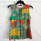 Chaps XS Sleeveless Shirt with Keyhole Front Green Paisley Womens Extra Small