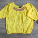Chaps Girls size 5 Peasant Top Shirt Lemon Rind Yellow Stitched Neck Kids