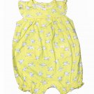 Carters 6 Months Romper Yellow Bird Print Dove Sleeveless Summer One-Piece Baby Girls