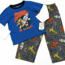 Carters Boys size 4 Pajama Set Blue Space Ship Sleep Shirt and Gray Pants