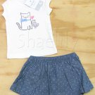 Carters Girls 6 Mos Kitty Shirt and Polka Dot Chambray Skirt Scooter 2-Piece Set