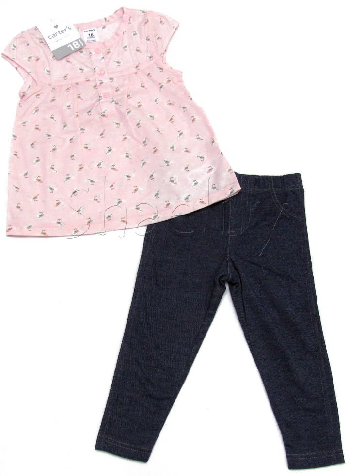 Carters Girls 18 Mos Light Pink Little Bird Tunic Shirt and Blue Jeggings 2-Piece Set