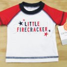 Carters NB Surf Shirt Swim Shirt Rashguard Little Firecracker Newborn Baby 0 mos