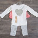 Carters 12 Months 2-Piece Set White Long Sleeve Shirt Skirted Leggings Pink Gray Baby Girls