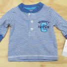 Carters 3 Months Long Sleeve Shirt Mommy's Captain Tee Shirt Blue Stripe Baby Boys