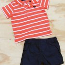 Carters 6 Months 2-Piece Set Stripe Polo Shirt and Navy Blue Shorts Baby Boys