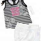 Calvin Klein Jeans size 5 Girls 2-Piece Set Stripe Tank Top Shirt Shorts Black White