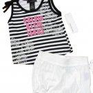 Calvin Klein Jeans size 5 Girls 2-Piece Set Stripe Tank Top Shirt Shorts Black White