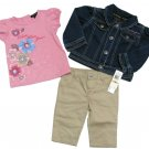 Calvin Klein Jeans 12 Mos Girls 3-Piece Set Denim Jacket Pink Shirt Khaki Pants New