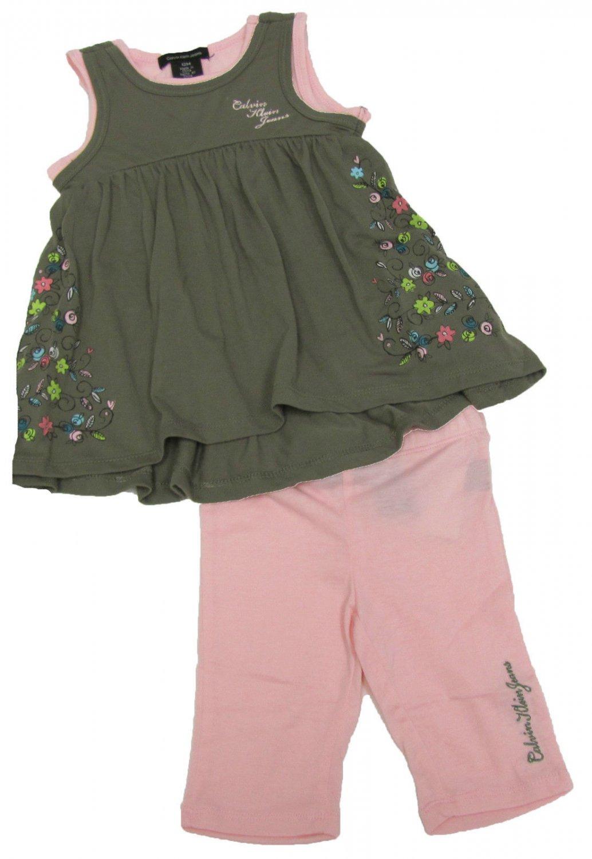 Calvin Klein Jeans 12 Mos Girls 2-Piece Set Olive Green Tunic Tank Top Pink Leggings