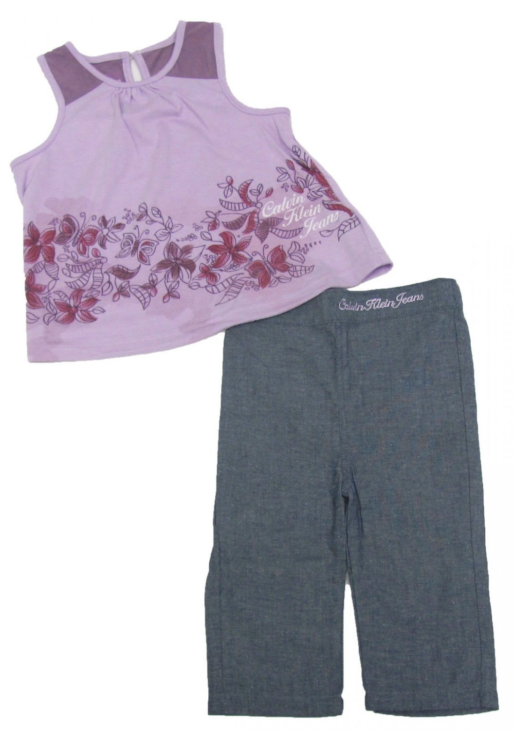 Calvin Klein Jeans 2T Girls 2-Piece Set Purple Tank Top Shirt Dark Blue Chambray Pants
