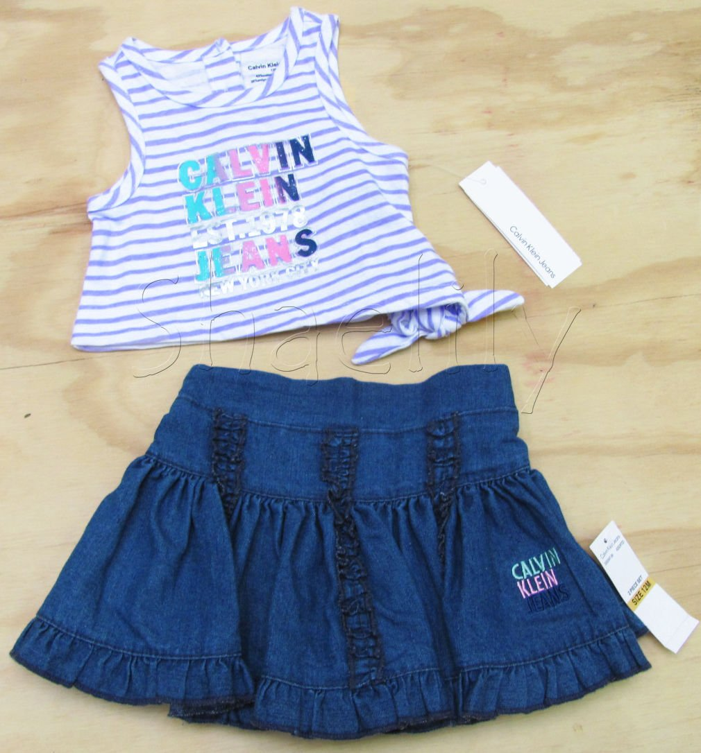 Calvin Klein Jeans 12 Mos Baby Girls 2-Piece Set Purple Stripe Tank Top Jean Skirt