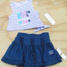 Calvin Klein Jeans 12 Mos Baby Girls 2-Piece Set Purple Stripe Tank Top Jean Skirt