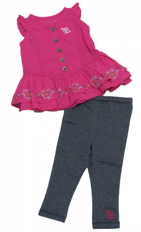 Calvin Klein Jeans 6-9 Mos Girls 2-Piece Set Long Pink Tunic Shirt Dark Blue Leggings