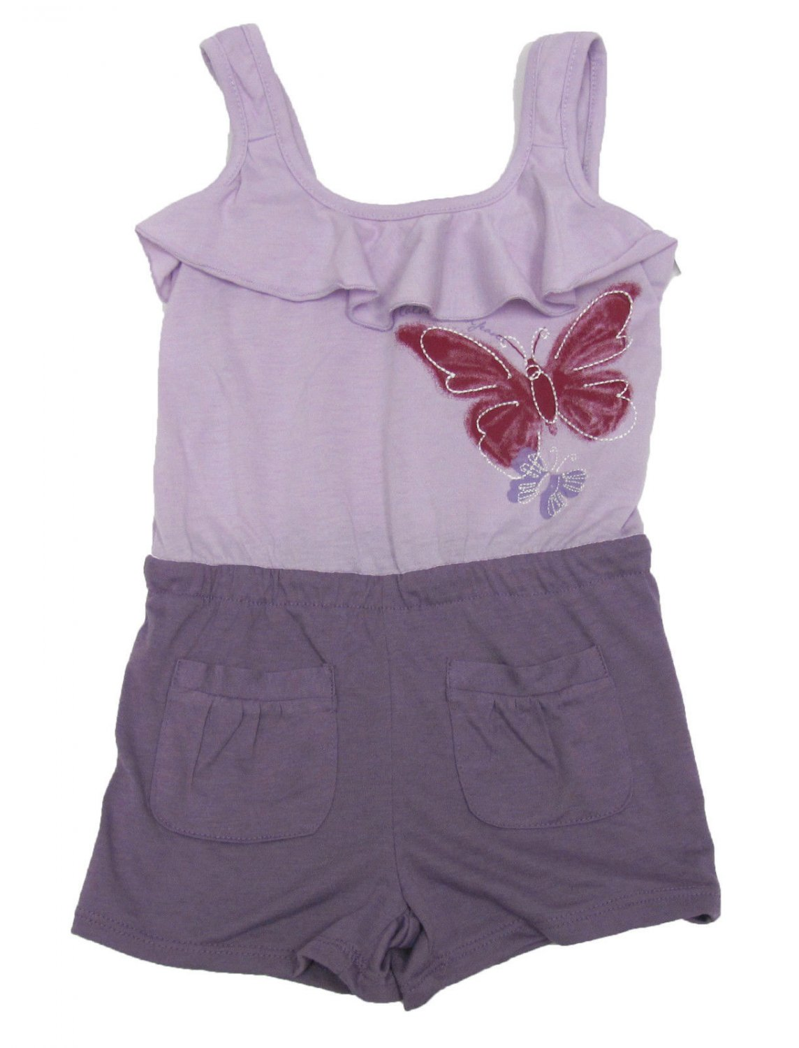 Calvin Klein Jeans Girls 4T Romper Toddler Light Purple Butterfly One-Piece