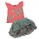 Calvin Klein Jeans 12 Mos Baby Girls Set Butterfly Shirt Floral Skirt Coral Blue