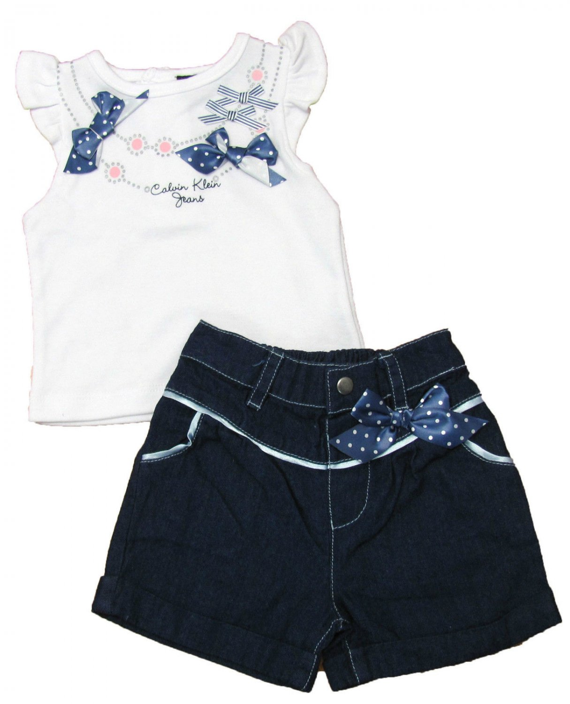 Calvin Klein Jeans 0-3 Mos baby Girls 2-Piece Set White Shirt Blue Jean Shorts