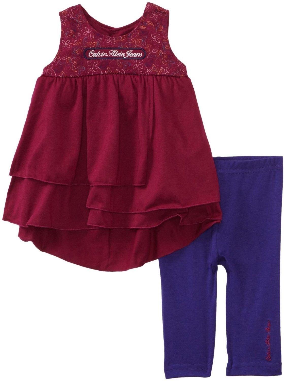 Calvin Klein Jeans 12 Mos Baby Girls 2-Piece Set Dark Pink Tank Top Shirt Purple Pants