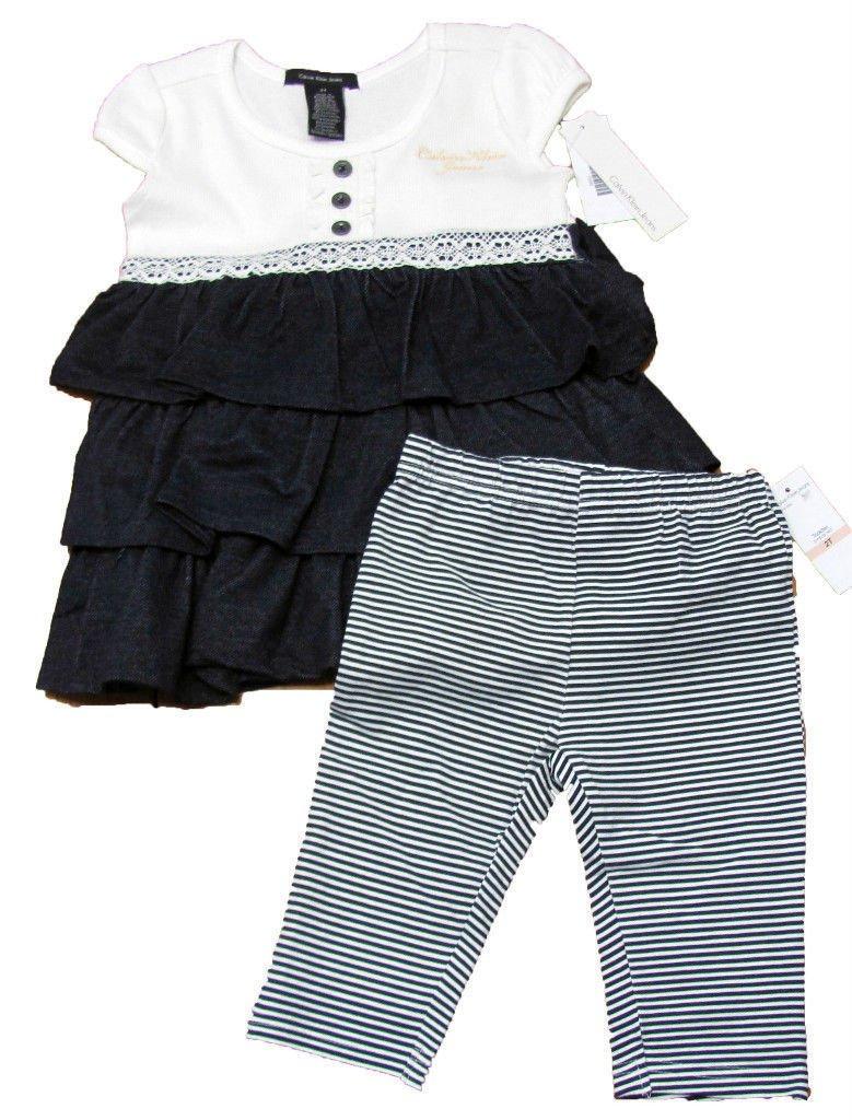 Calvin Klein Jeans 3T Girls Peasant Top Shirt and Navy Blue Stripe Leggings 2-Piece Set