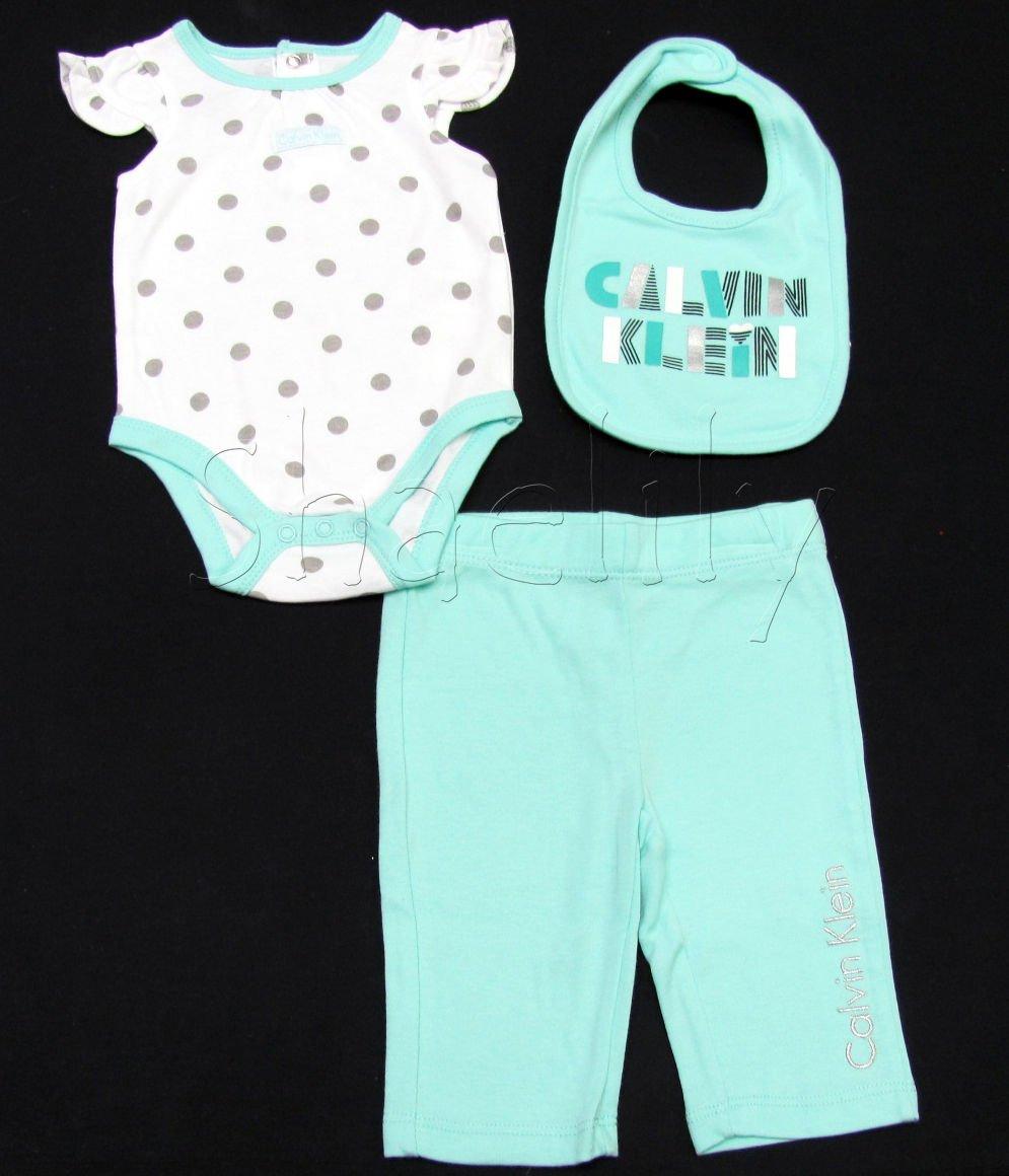 Calvin Klein 3-6 Mos Baby Girls 2-Piece Set Polka Dot Bodysuit Mint Green Pants and Bib