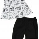 Calvin Klein 0-3 Mos Baby Girls 2-Piece Set White Floral Peasant Shirt Black Pants Newborn