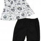 Calvin Klein 0-3 Mos Baby Girls 2-Piece Set White Floral Peasant Shirt Black Pants Newborn