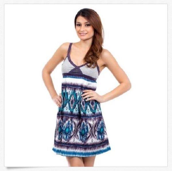 C Luce Juniors M Dress Purple Blue Tribal Sleeveless Sundress Above Knee Medium
