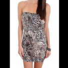 Cantata Juniors M Dress Strapless Animal Print Ruched Mini Bandage Club Medium