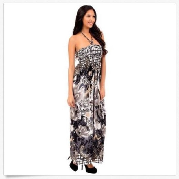 Cristina Love Maxi Dress S Juniors Gray Floral Smocked Long with Halter Strap Small