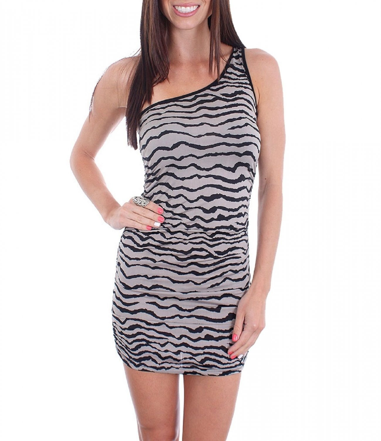Cantata Mini Dress L Juniors Gray Zebra Tiger Stripe One Shoulder Ruched Large New
