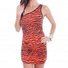 Cantata Mini Dress S Juniors Orange Black Zebra Tiger Stripe One Shoulder Ruched Small New
