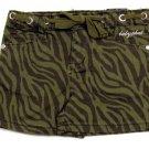 Baby Phat Girls size 6 Shorts Olive Green Zebra Print Short Kids New