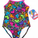 Breaking Waves Girls size 4 Swimsuit One-piece Rainbow Heart Checker Print
