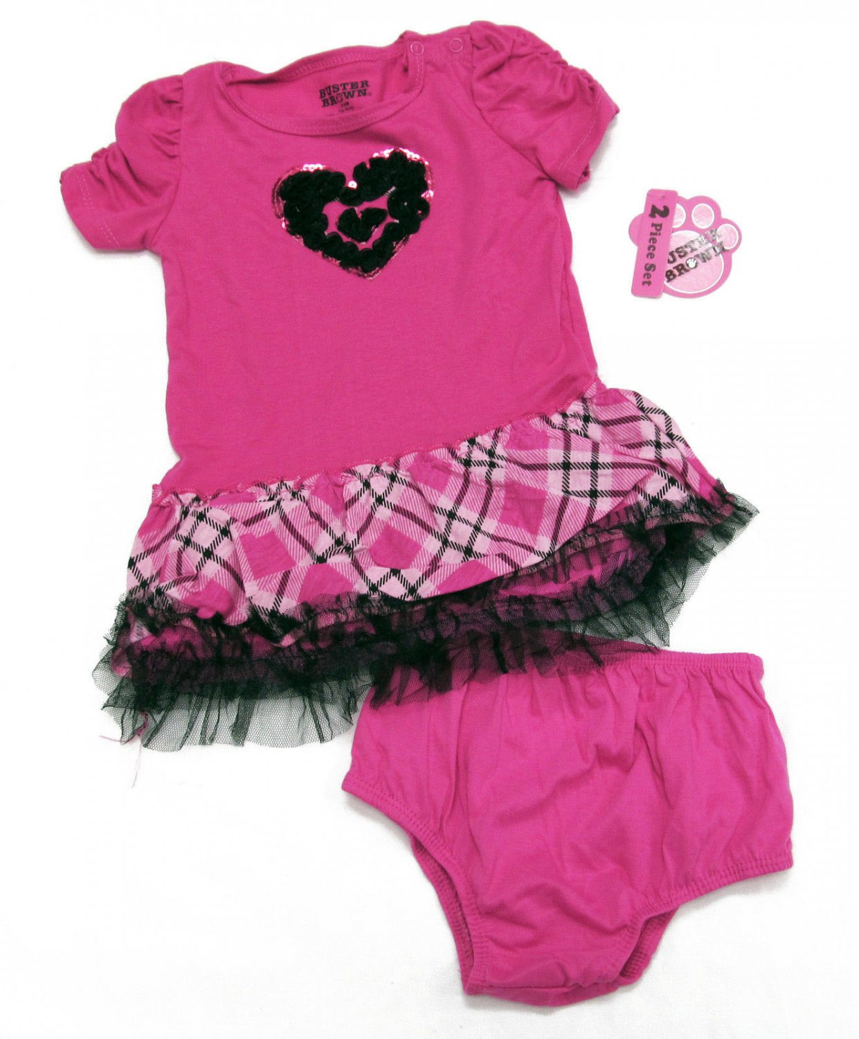 Buster Brown Baby Girls 2-Piece Dress Set Diaper Cover Pink Black Plaid 24 Mos