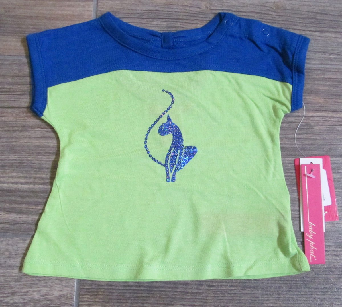 Baby Phat Girls 12 Mos T-shirt Colorblock Shirt with Bow Back Surf Royal Blue