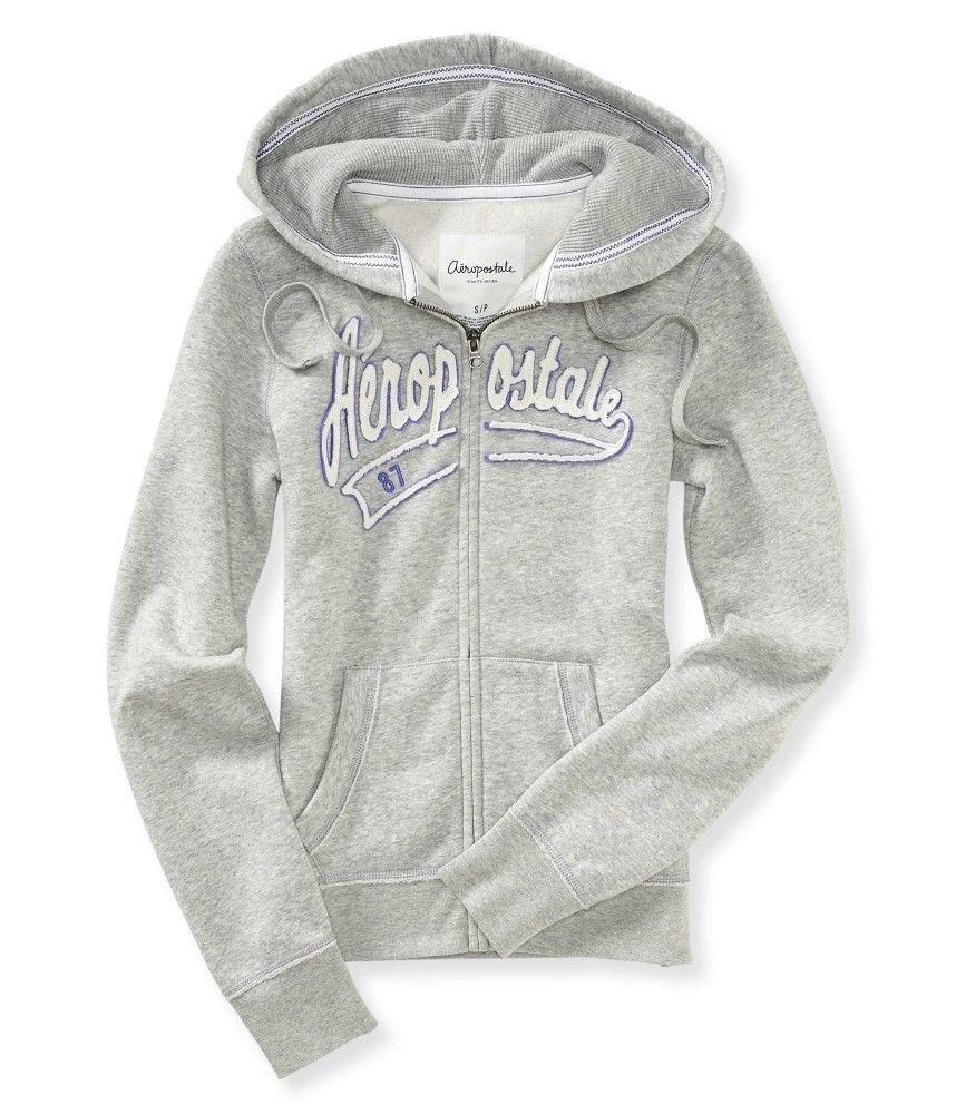 Aeropostale Hoodie Juniors S Heather Gray Zip Sweatshirt Small