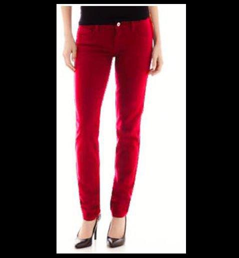 Arizona Juniors size 0 Super Skinny Jeans Luxembourg Red Colored Denim