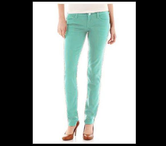 Arizona Juniors size 19 Super Skinny Jeans Lucid Green Colored Denim