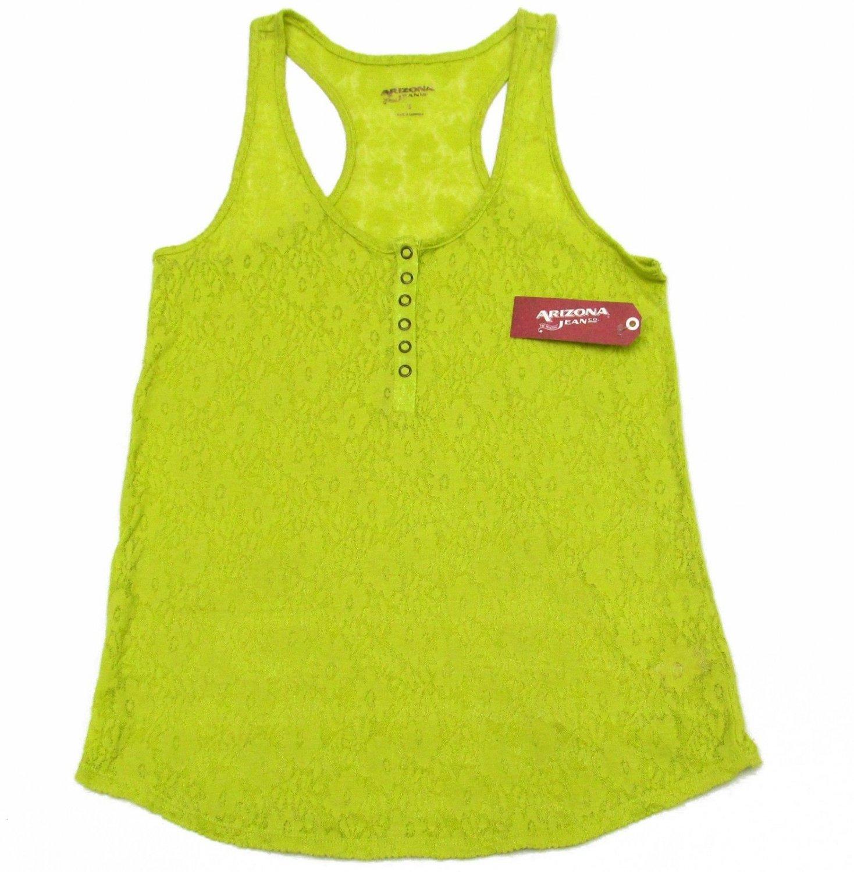 Arizona S Tank Top Green Lace Henley Racerback Sleeveless Shirt Juniors Small
