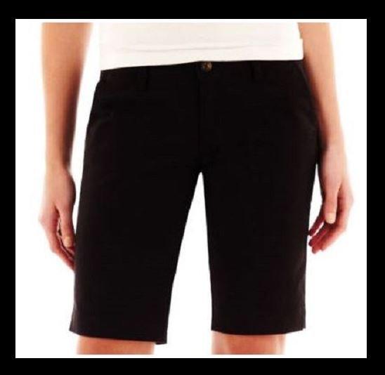 Arizona size 1 Bermuda Shorts Juniors Black Khaki Twill Long Short New