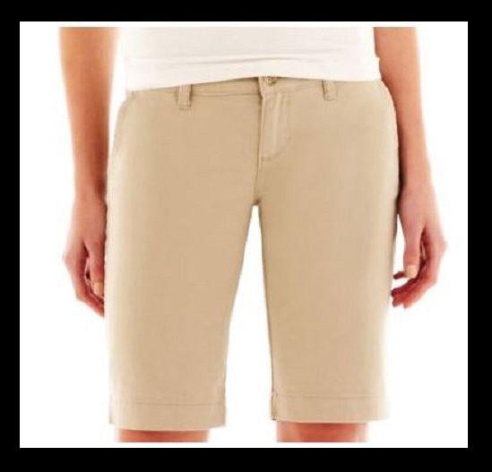 Arizona size 1 Bermuda Shorts Juniors Beige Khaki Twill Long Short New