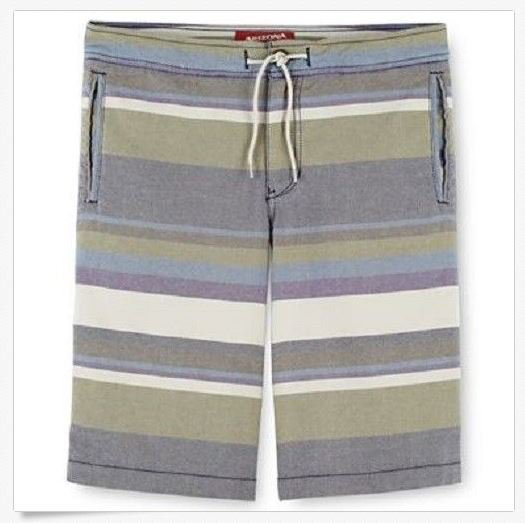 Arizona Boys 16 Shorts Green Purple Stripe Oxford Short Flat Front