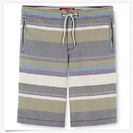 Arizona Boys 7 Shorts Green Purple Stripe Oxford Short Flat Front