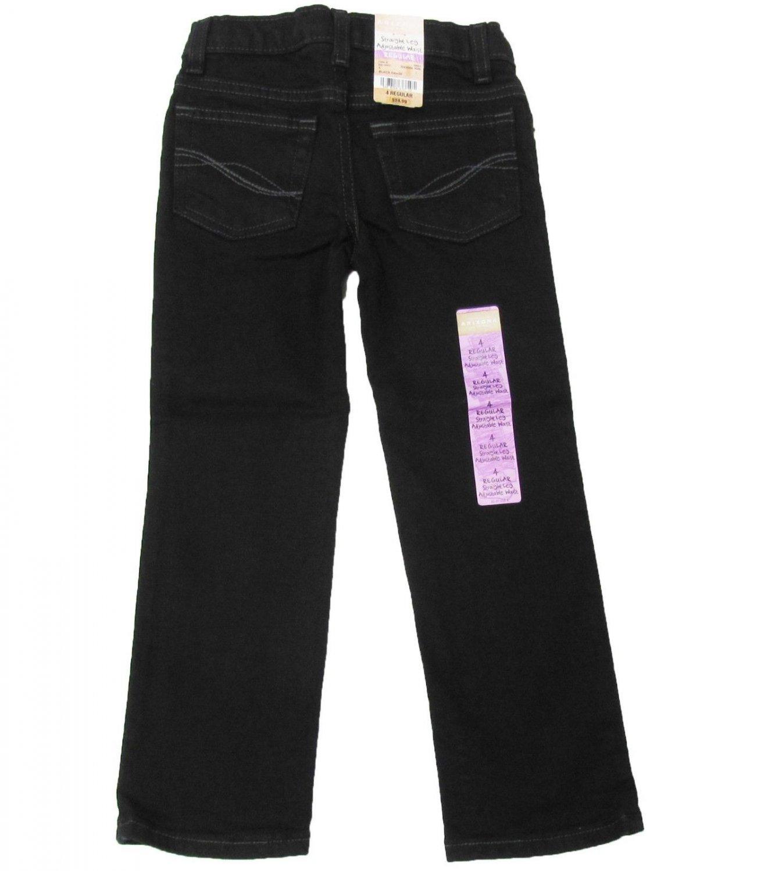 Arizona Girls 4 Straight Leg Jeans with Adjustable Waist Black Denim Kids