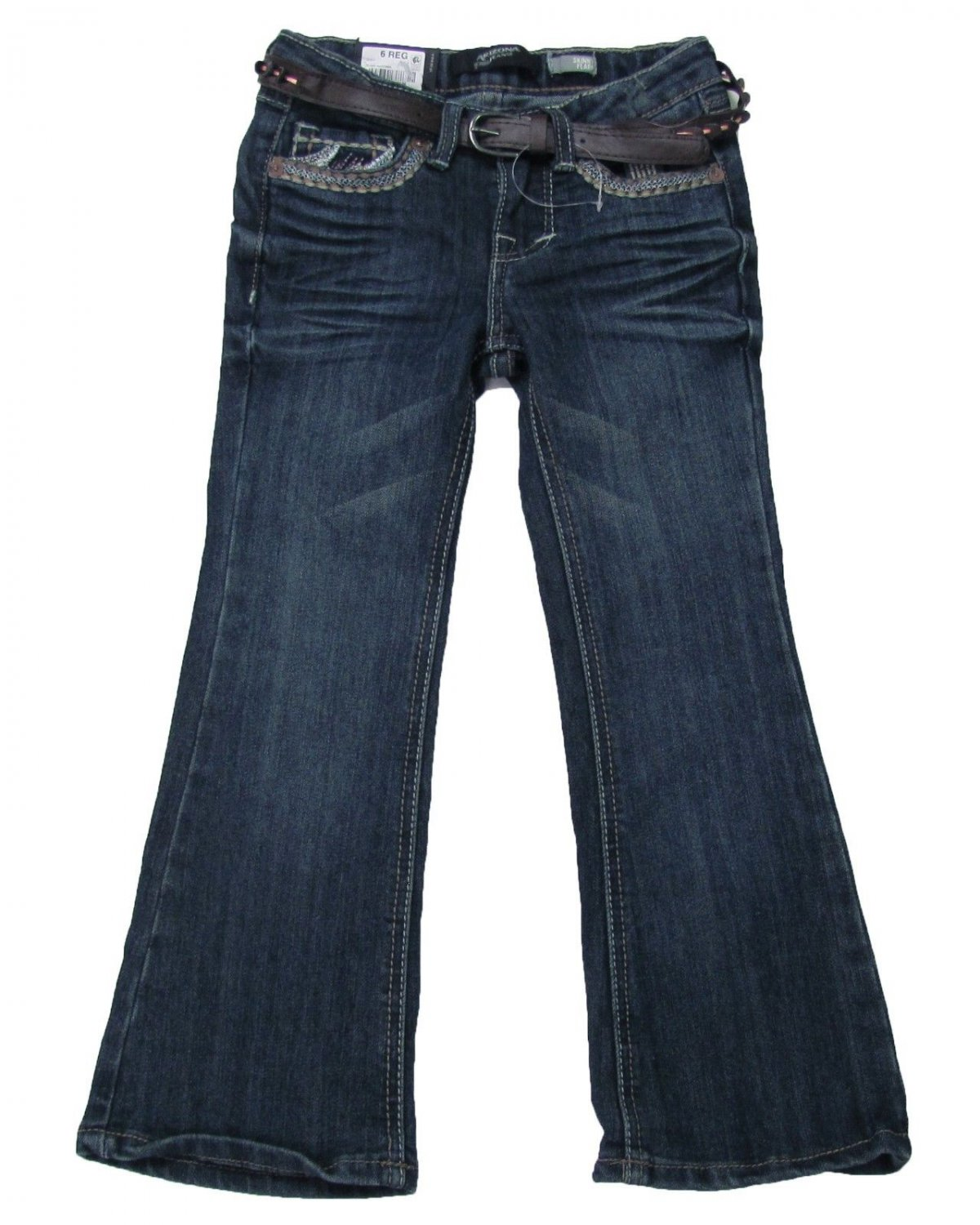 Arizona Girls 12 Skinny Flare Leg Jeans with Brown Belt Clash Madonna Blue Youth