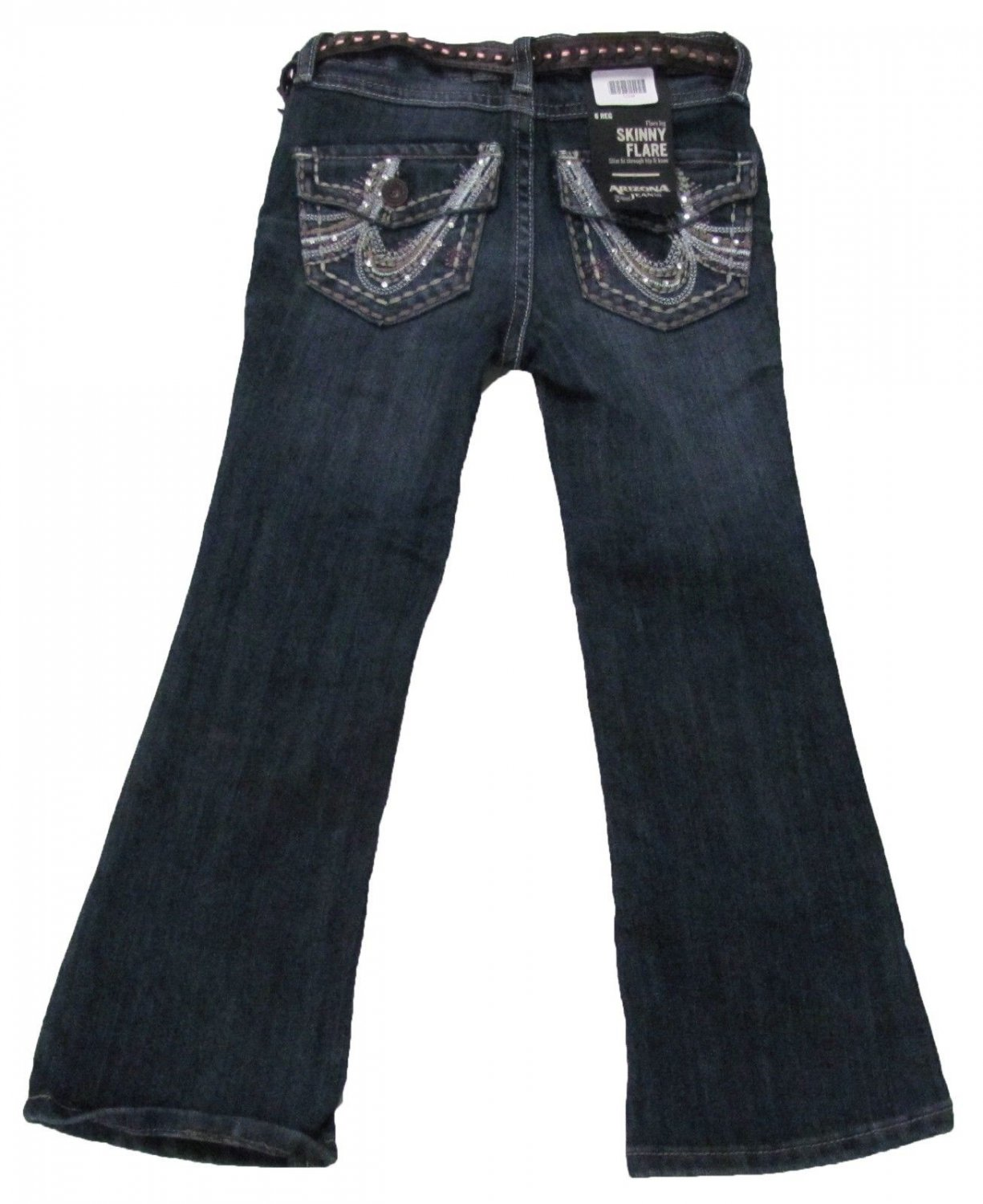 Arizona Girls 10 Skinny Flare Leg Jeans with Brown Belt Clash Madonna Blue Youth