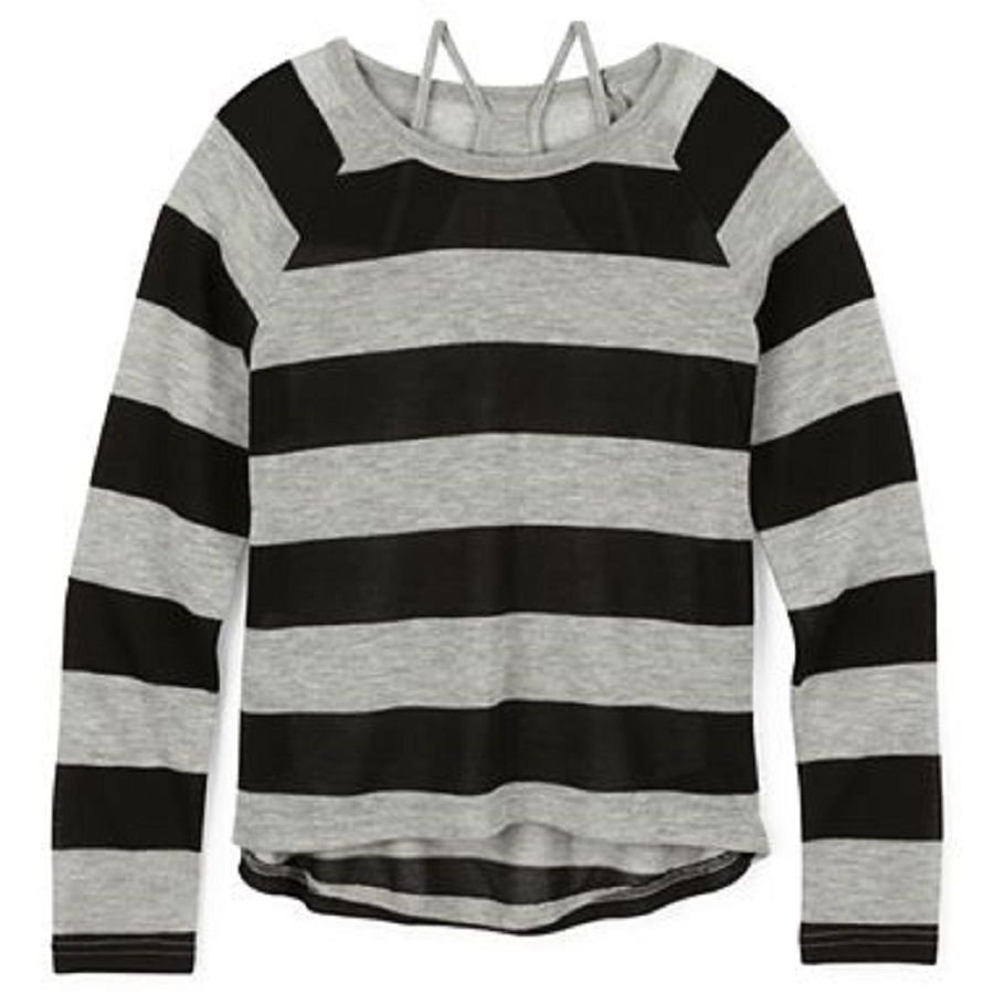 Arizona Girls 6-6X Sweater Thin Gray Black Stripe Layered Long Sleeve Kids S New
