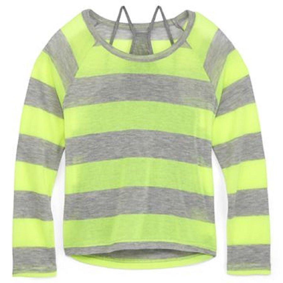 Arizona Girls 4-5 Sweater Thin Gray Neon Yellow Stripe Layered Long Sleeve Kids S New