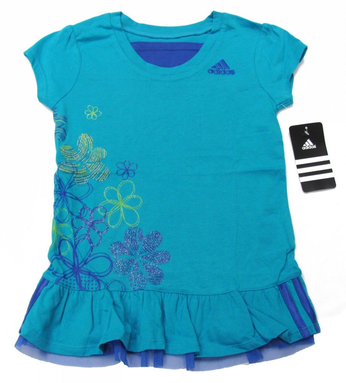 adidas Girls size 4 Shirt Blue Ruffle Bottom Sport Top with Glitter Flowers
