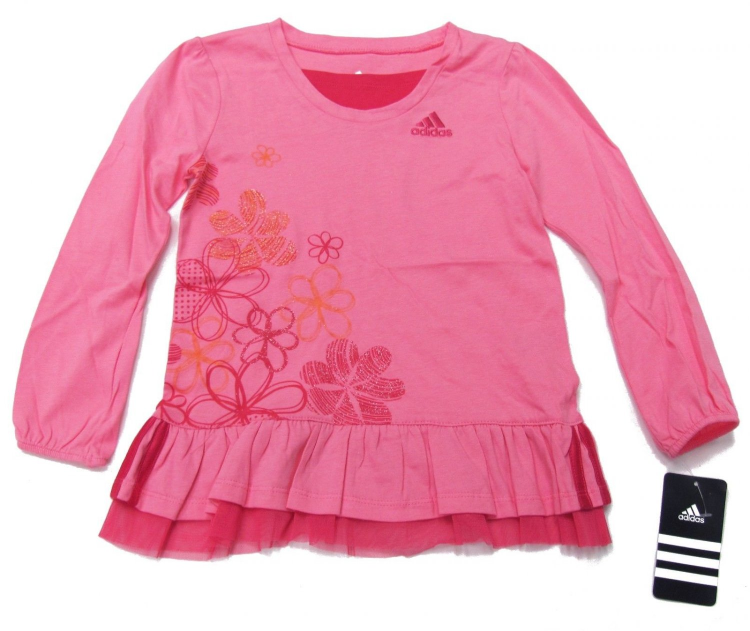 adidas Girls size 4 Shirt Pink Ruffle Bottom Sport Top with Glitter Flowers Long Sleeve